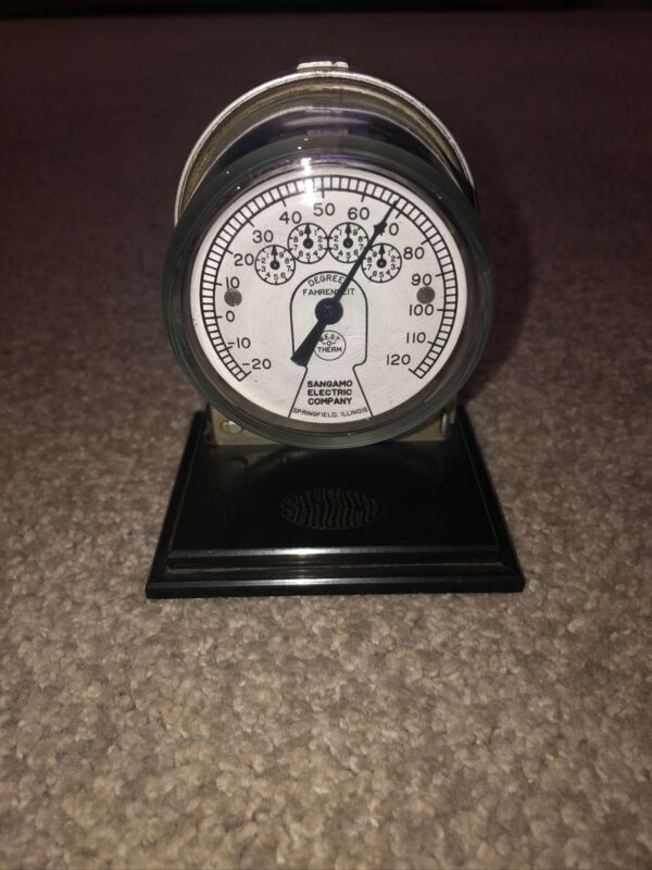 Vintage Advertising Sangamo Electric Company Meter Paperweight Thermometer Works
