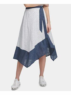 DKNY $89 Womens New 0123 White Striped Asymmetrical Hem Casual Skirt 14 B+B