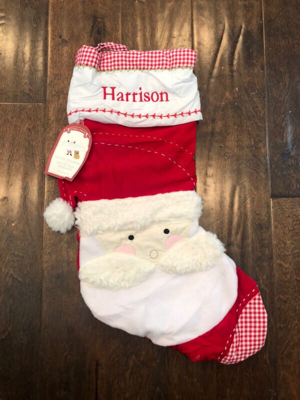 NWT Pottery Barn Kids Red Gingham Quilted Santa Christmas Stocking Mono Harrison