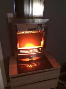 Silver electric FIREPLACE /heater *like NEW !!!with remote