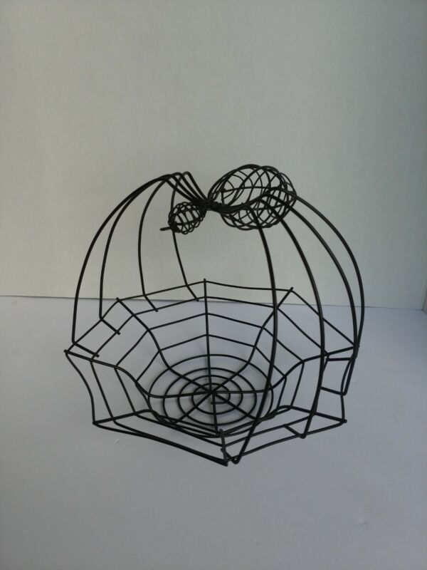 Halloween Spider Web Basket of Metal Wire Candy Fruit Bowl Unique