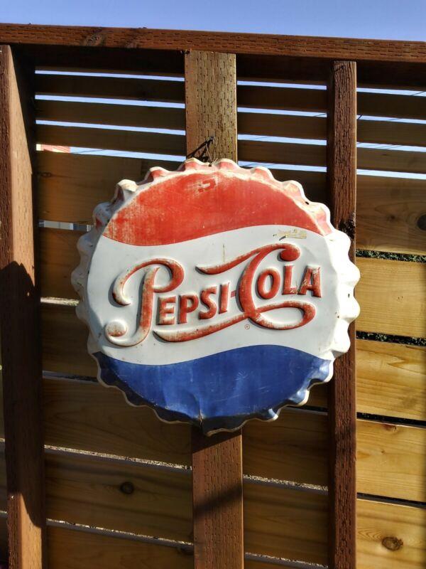 """Vintage 1960s Pepsi Cola Soda Pop Bottle Cap Gas Station 19"""" Embossed Metal Sign"""