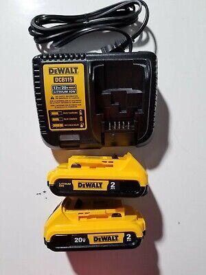 DEWALT DCB203-2 20V 20 Volt 2.0 AH Li-Ion Battery packs DCB115 Charger New 2019