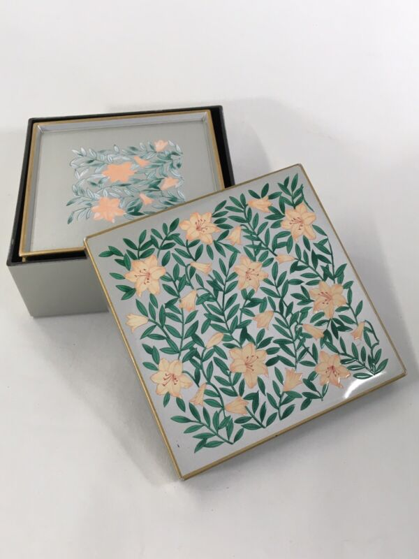 Japan OTAGIRI Gold Lacquerware Nesting Cup Coasters Holder Set of 6 Lilies Box