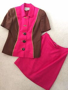 Pink and brown blazer and skirt