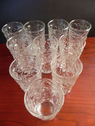 10 Vintage Anchor Hocking Clear Lido Milano Crinkle Glass