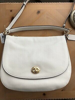 Coach 36762 Chalk White Pebbled Leather Turnlock Hobo Handbag Purse NWT