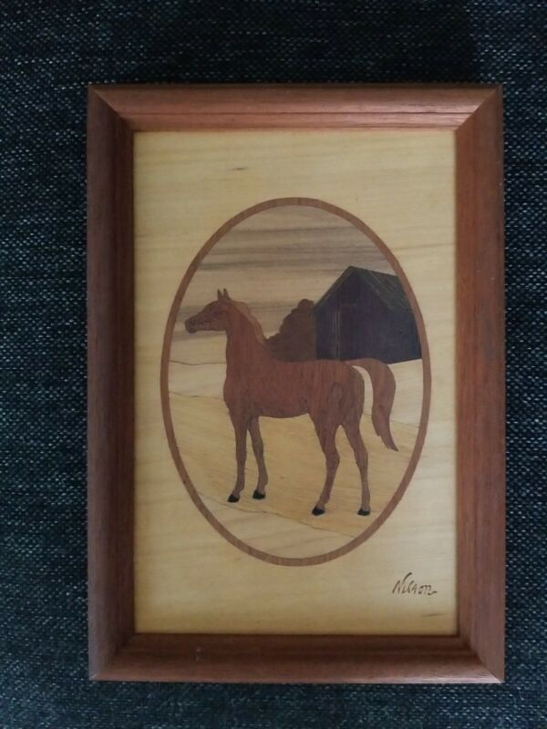 HUDSON RIVER WOOD INLAY Picture in Frame by NELSON - Horse & Barn  - Mint