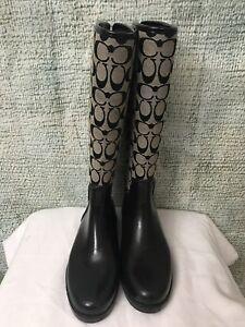 Woman Coach Tristee Black Canvas Signature Laces Rain Boots Size 10