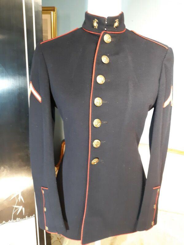 VTG US Marine Corps WW2 WWII Dress Blue Jacket Tunic 34 Reg Named