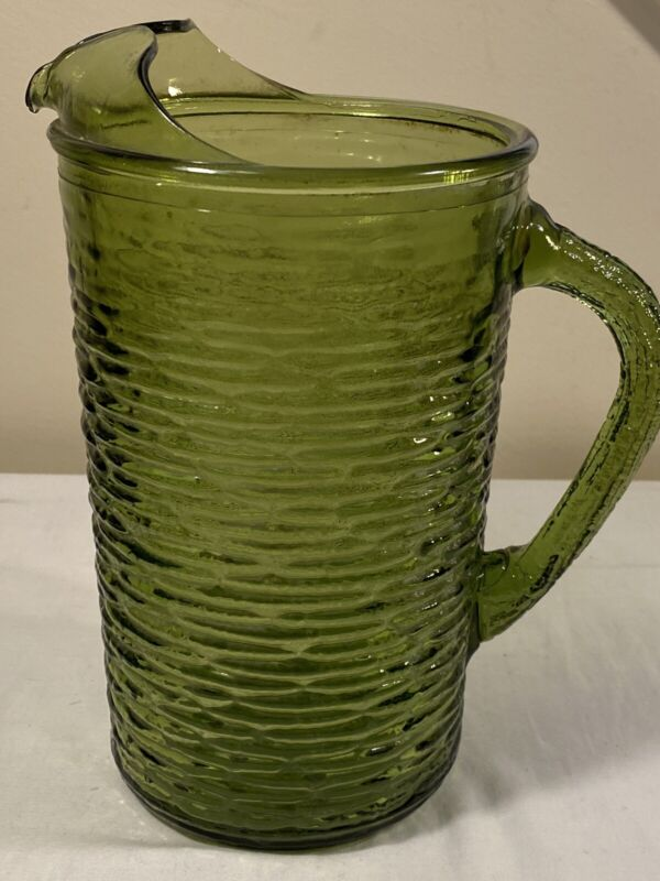 "Anchor Hocking 8 1/4"" Mid Century Soreno Avocado Green Juice Pitcher VTG 60s 70s"