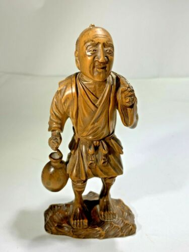Antique Japanese Wood Hand Carved Fisherman with Fish and Pail Artist Signed