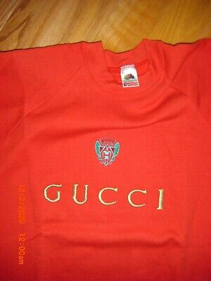 BUY ME**GUCCI**CREW NECK SWEATSHIRT*RED*EMBROIDERED*VINTAGE 90s*BOOTLEG*SZ XL