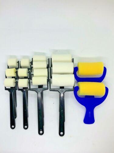 "15 Pc Plain Foam Roller Brushes For Painting Art & Craft 1""+ 1.5""+ 2"" +3"""