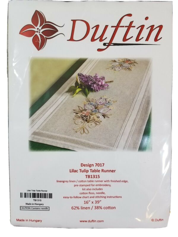 Duftin Embroidery Kit Lilac Tulip Table Runner Design 7017 Pre Stamped