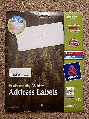 Avery 48860 5160 Address Label - 1 X 2 58 - 540 Total - 18 Sheets - White