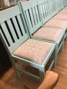 6 light blue chairs with tan seats- nautical inspired
