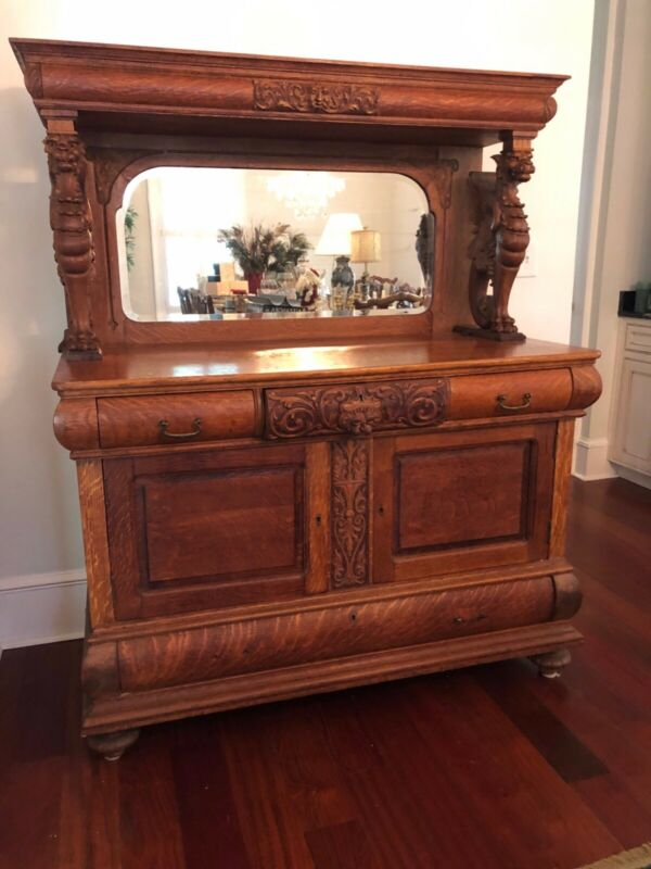 ATTRIBUTED To R.J. HORNER CARVED WINGED GRIFFIN /gargoyle SIDEBOARD With Mirror