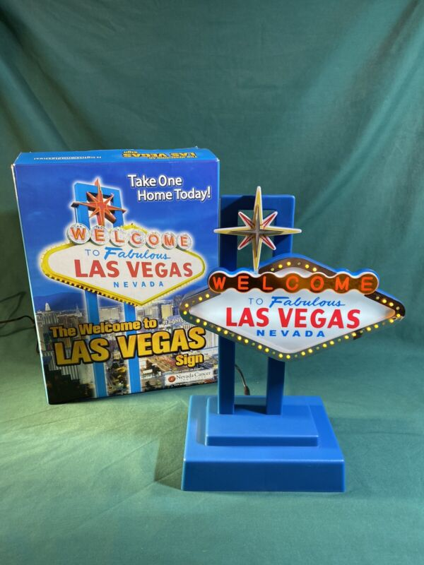 Welcome To Fabulous Las Vegas Nevada Flashing Light Sign With AC Adapter & Box