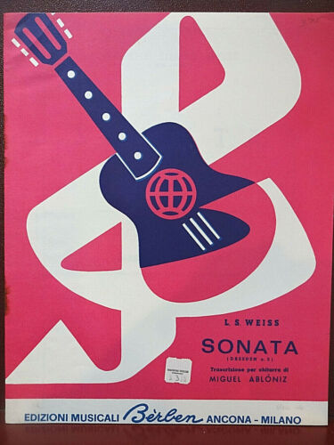 """Vintage: """"Sonata (Dresedn n. 5)"""" by Leopold Silvius Weiss for Solo Guitar"""