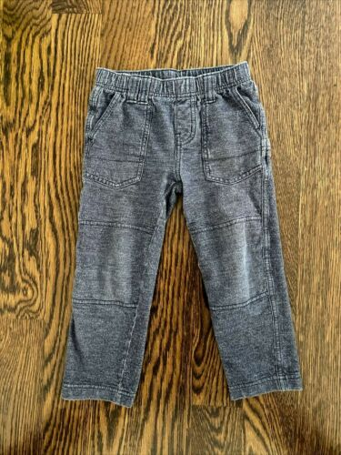 TEA COLLECTION denim like play pants 4 boys jeans elastic waist pull on stretch