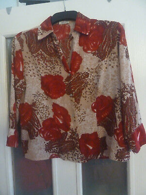 """Jaipur Red And Beige Blouse / Top Size M - Chest 42"""""""