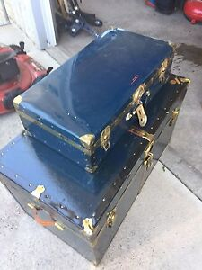 Vintage metal trunk and suitcase