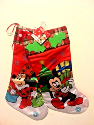 "Disney 21"" MICKEY & MINNIE MOUSE CHRISTMAS STOCKINGS SET *NEW* Satin with Plaid"