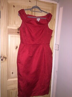 Stunning Lindy bop red wiggle dress size 14 Goodwood, Twinwood 1940/50 event