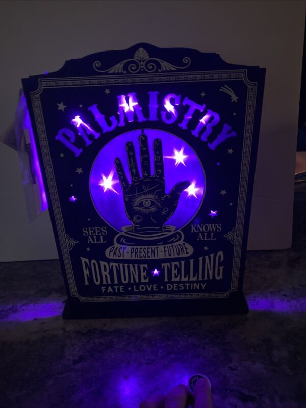 "14.5"" Lighted LED Palm Reader Sign Window Halloween Fortune Teller Palmistry"