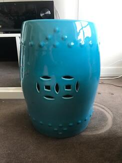 Teal drum / side table / coffee table
