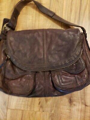 Lucky Brand Soft Brown Italian Lamb Leather Slouch Shoulder Bag Handbag Purse Brown Soft Italian