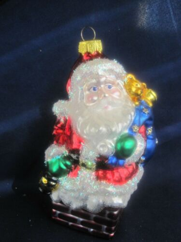 "Santa in Chimney Christmas Tree Ornament 4.5"""