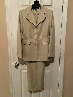 Womans Levine Classics Beige Pant  Suit - Size 12