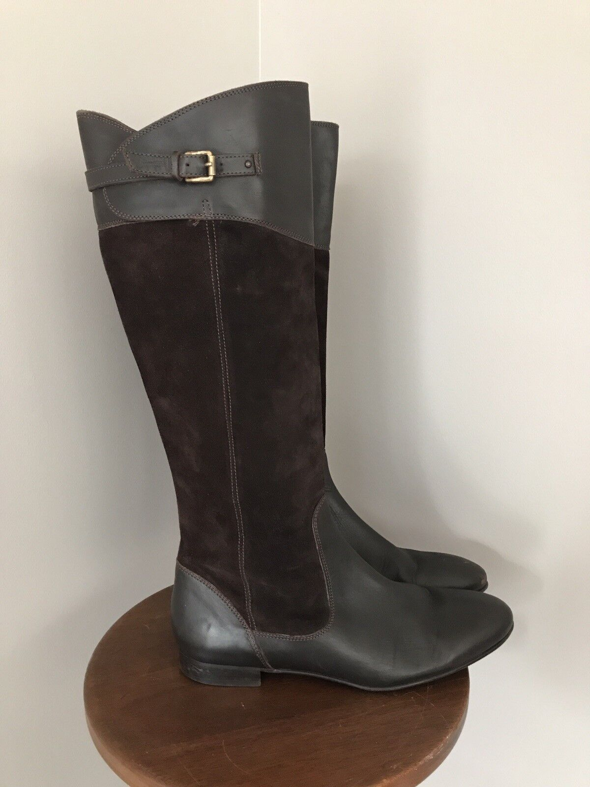 J Crew Brown Suede And Leather Tall Riding Boot Full Side Zip Women s US 8M - $58.00
