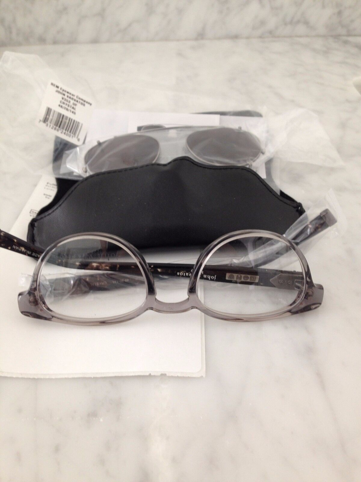 John Varvatos Glasses with Clip On Shades - New