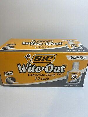 Bic Wite-out 20 Ml Bottle White 1dozen Quick Dry Correction Fluid Wofqd12we