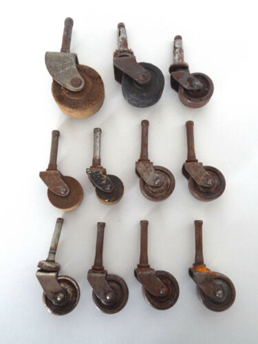 Antique Casters Wheels 11 Piece Estate Lot Salvaged Chair Rollers Wood Metal