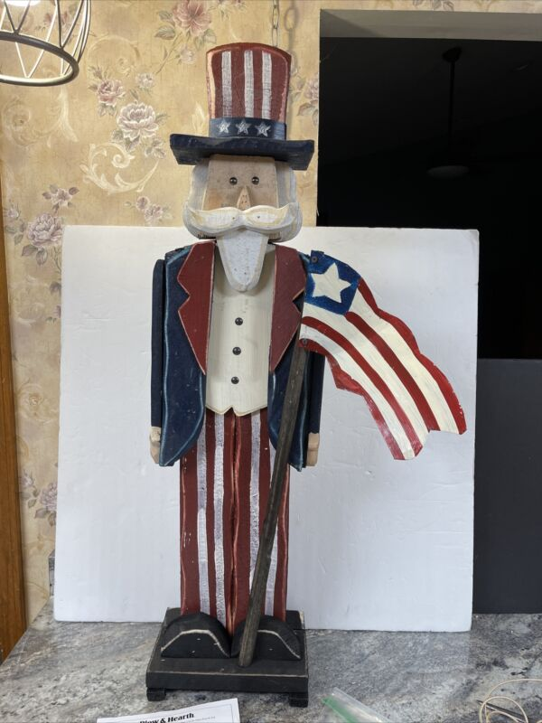 Plow and Hearth Wooden Uncle Sam Porch Pal US Flag Independence Day July 38.5""