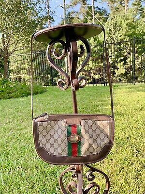 GUCCI Vintage GG WEB Monogram Canvas Leather Shoulder Bag Authentic OPHIDIA