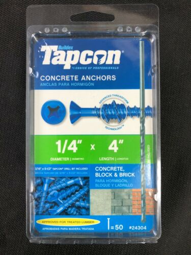 24304 Tapcon 50-Pack 4-in x 1/4-in Concrete Anchors
