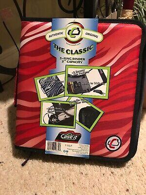 Case-it Classic Zipper 2 3 Ring Binder School Handle Strap Red Stripes Tiger