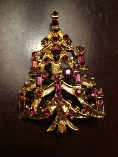 Vintage Christmas tree candle pin brooch purple Rhinestones