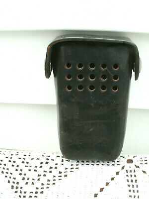 Vintage Leather Police Fire Radio Holder Case Flip Top Silver Snaps--used