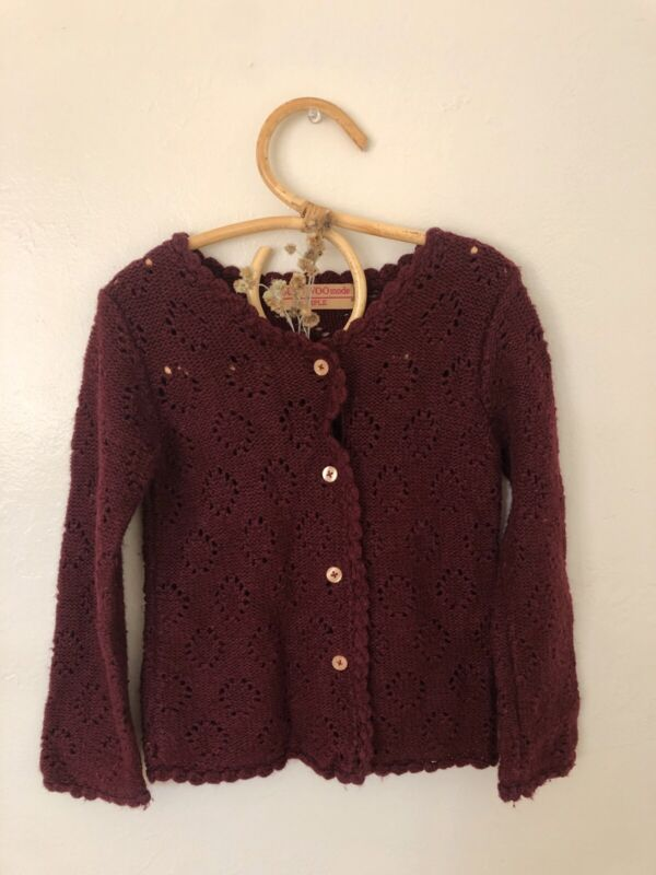 Burgundy Pointelle Wool Button Cardigan Sweater 3 Years