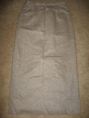 Womens Tan Herringbone TALBOTS Lined Silk Blend Full Length Skirt 2 Herringbone Silk Skirt