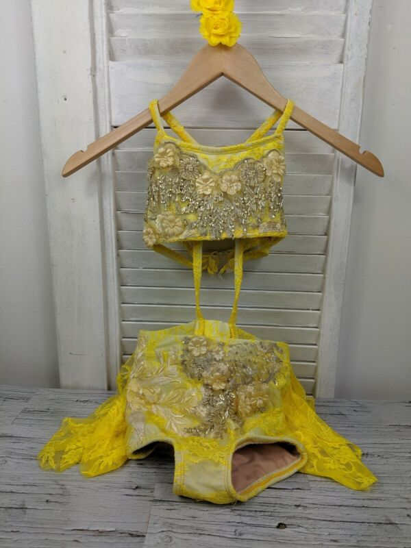 Dance Costume Girls Size 7 Yellow Lyrical Floral Beading