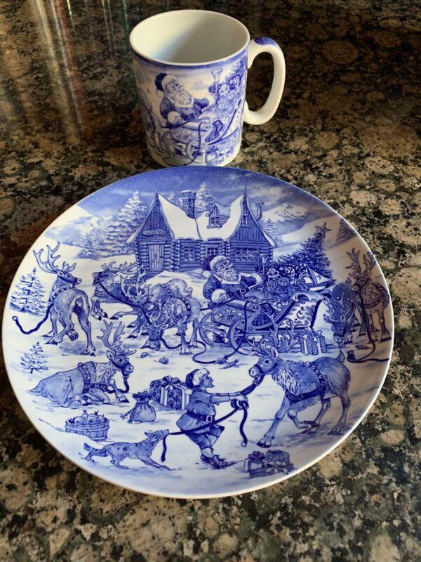 Spode Santa's Big Day Reindeer Roundup Christmas Plate & Coffee Mug 2007
