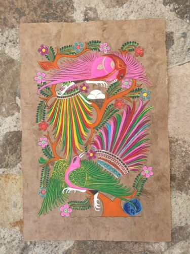 Authentic Mexican Art, Handmade Birds Painting on Bark Paper or Amate