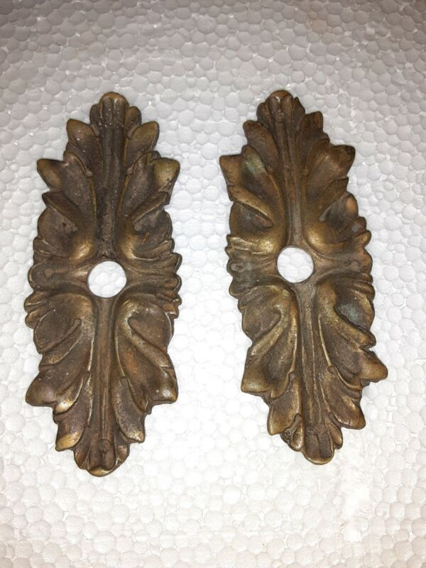 Pair Antique  Brass or bronze French Escutcheons Hardware Ornate